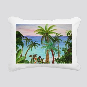 Aqua Beach Palms Rectangular Canvas Pillow